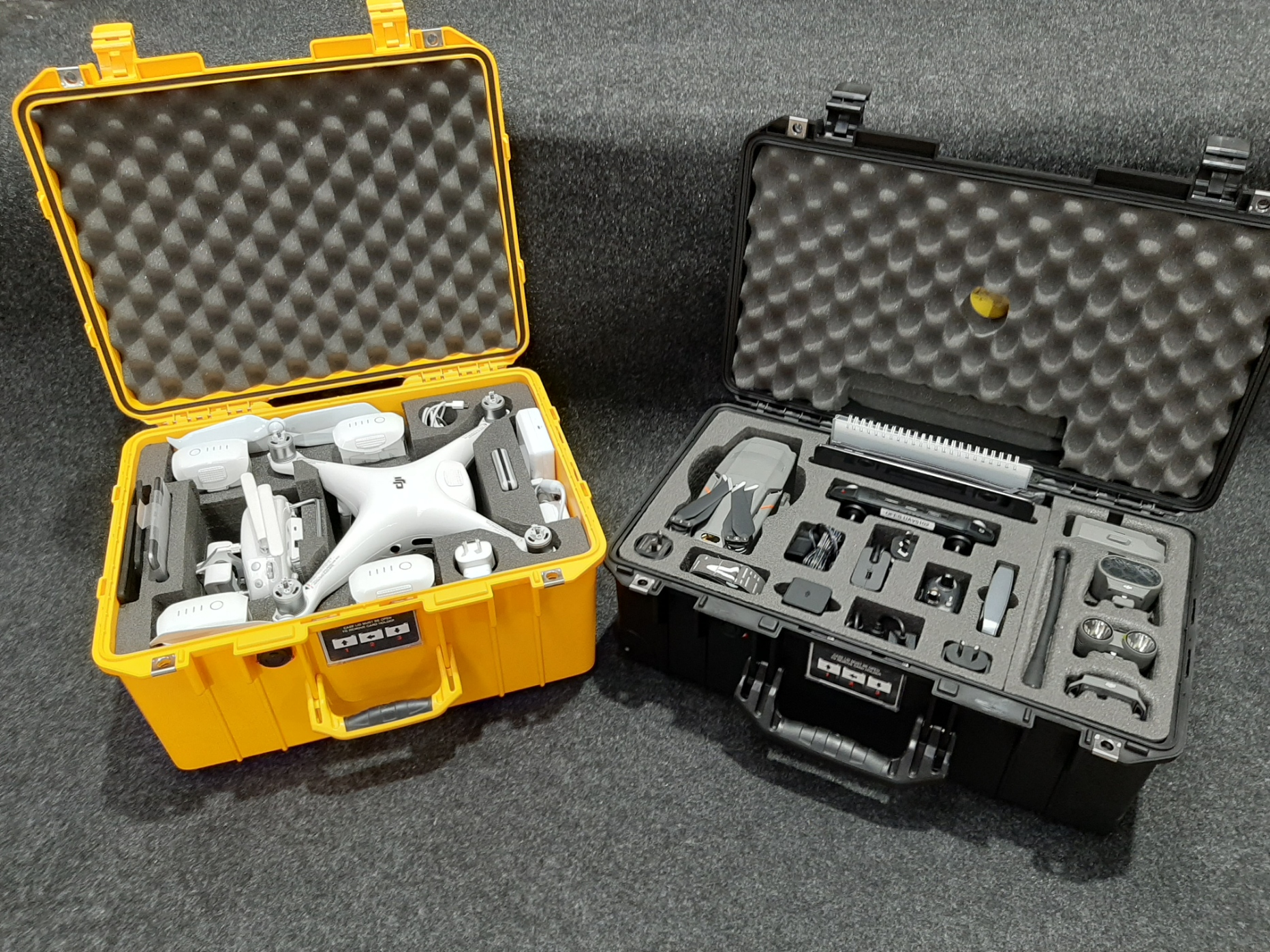 Pelican 1557 and 1535 Air Cases suited to the DJI Phantoms custom fitted by Qld Protective Case in Brendale, Brisbane