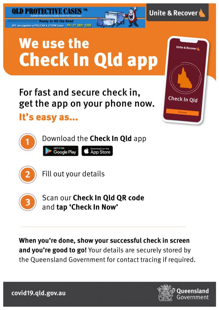 Check in with Qld Covid App at Qld Protective Cases